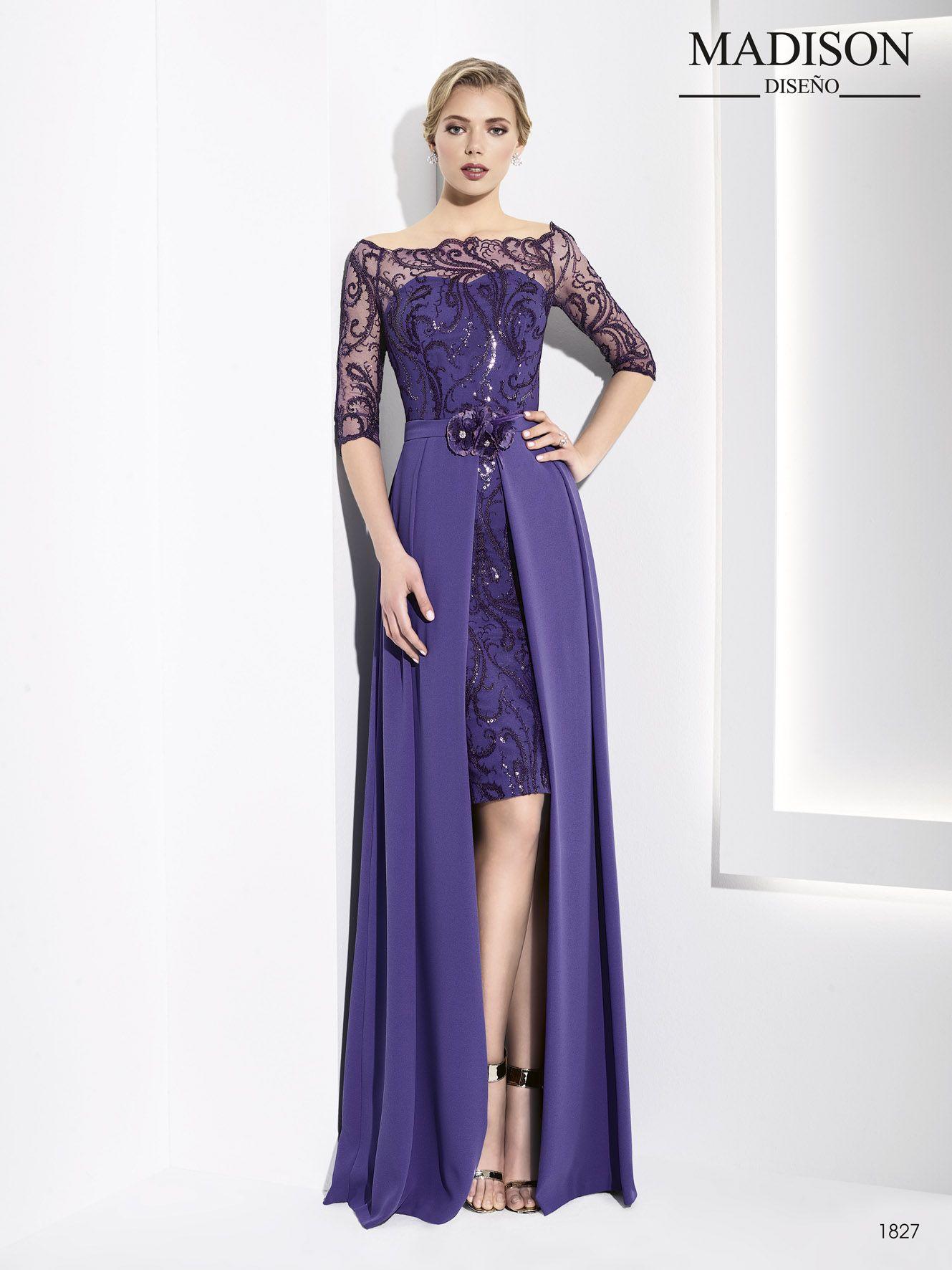 vestido corto de fiesta con faldón largo color morado | costura ...