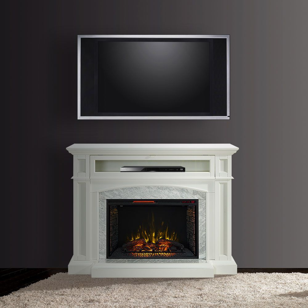Drew Infrared Electric Fireplace Tv Stand In White Cs 33wm1100 Wht Fireplace Tv Stand Fireplace Entertainment Center Fireplace Entertainment