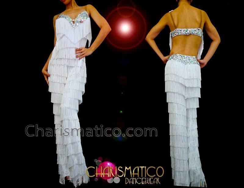 af833bb9f CHARISMATICO White Fringe Latin Dance Pants With Silver Beaded Top Accents