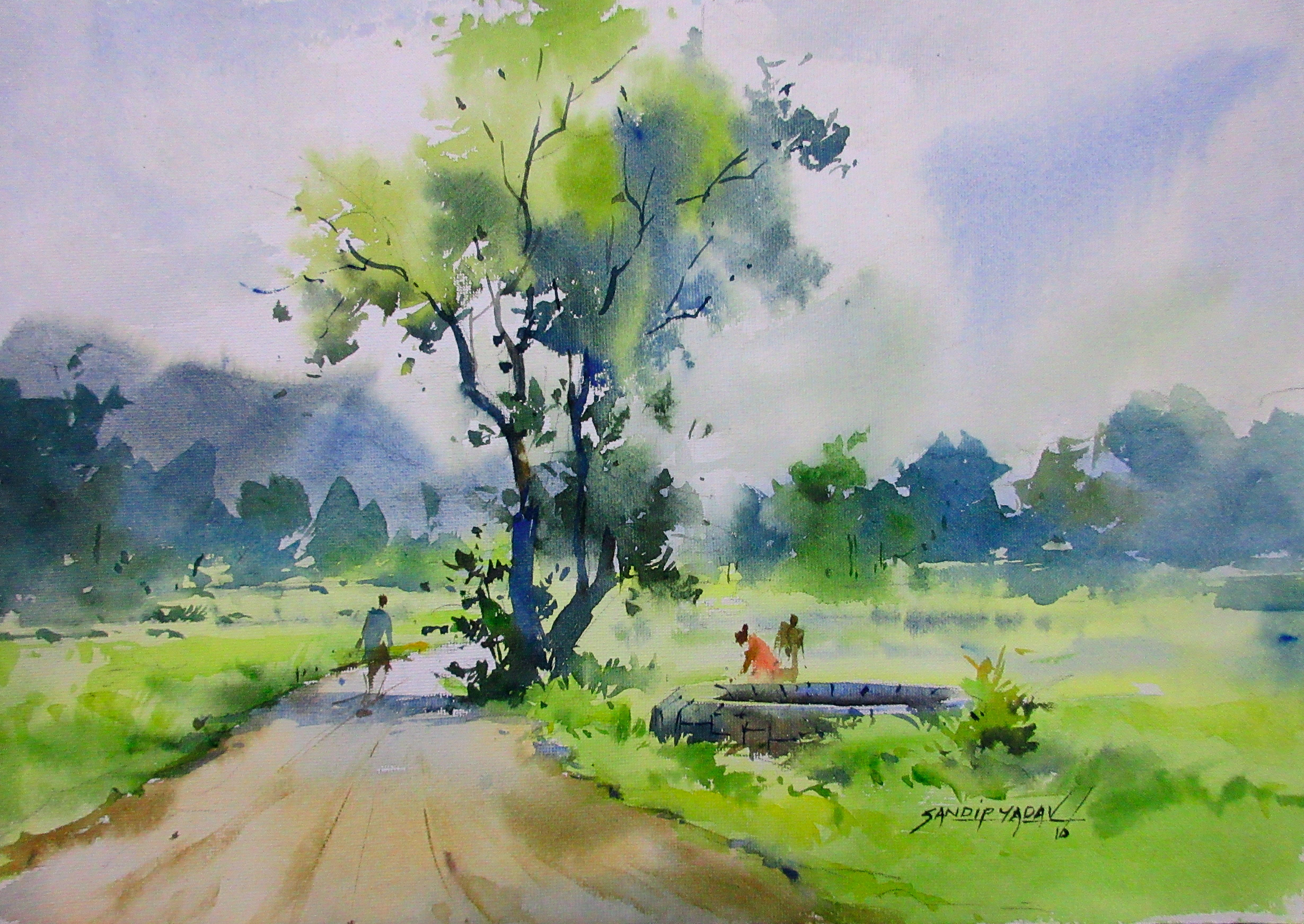 Pin By Sandeep Yadav On My Paintings Watercolor Landscape