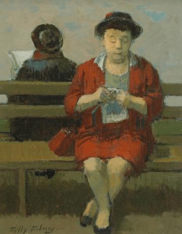 """""""Dama tejiendo punto """" - """"Lady knitting """" - Tully Filmus (1903 - 1998) Pintor realista, norteamericano , nacido en la Región de Besarabia, Moldavia, pero a los 10 años se fue a vivir con sus padres a Pennsylvania, USA."""