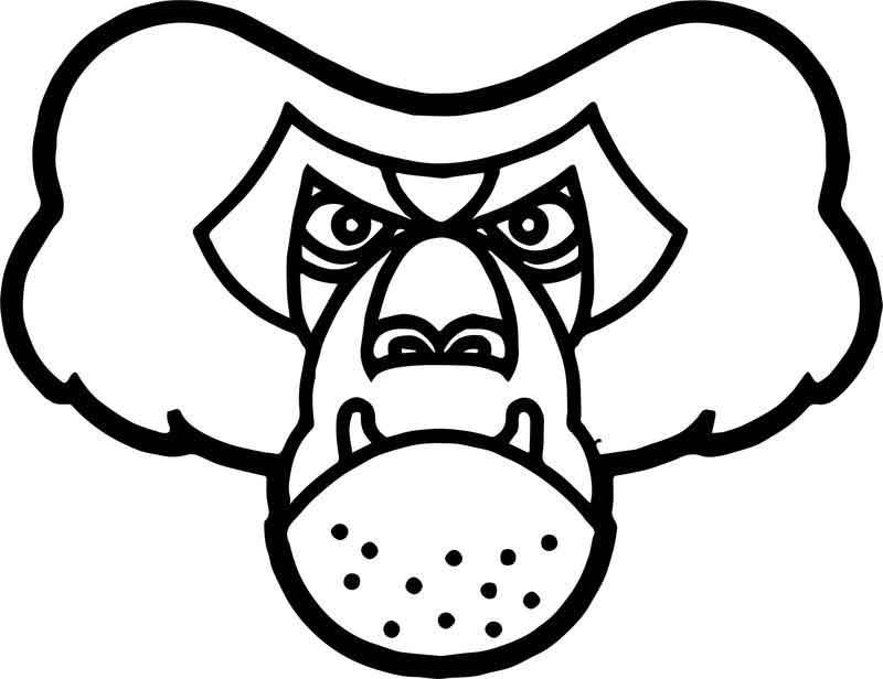Baboon Angry Face Coloring Page
