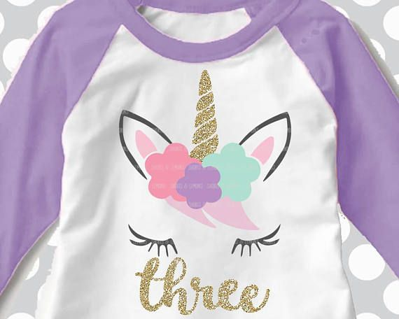 Unicorn Svg 3rd Three Third Birthday