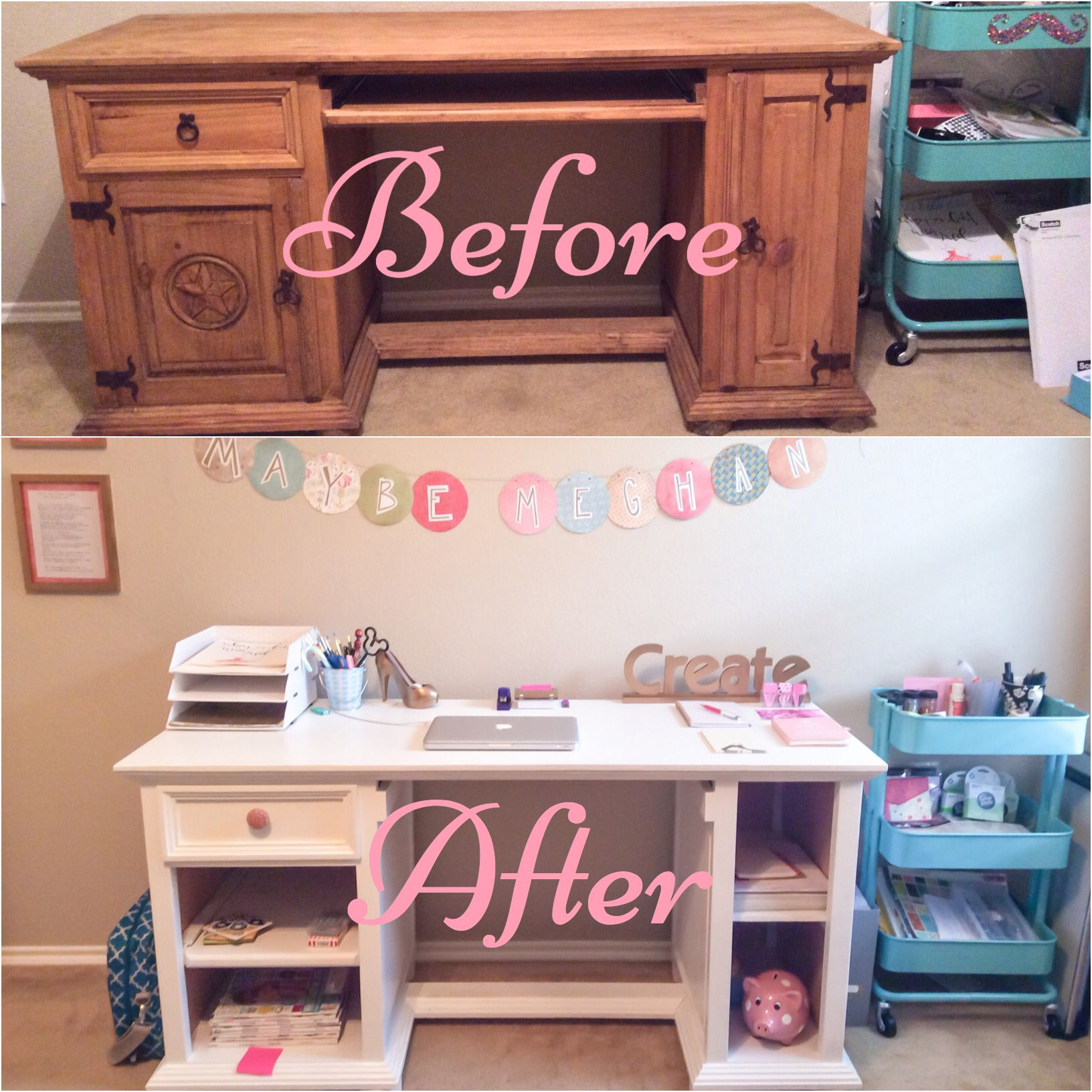 DIY  Transform Your Home Office With A Simple And Inexpensive Desk Makeover!