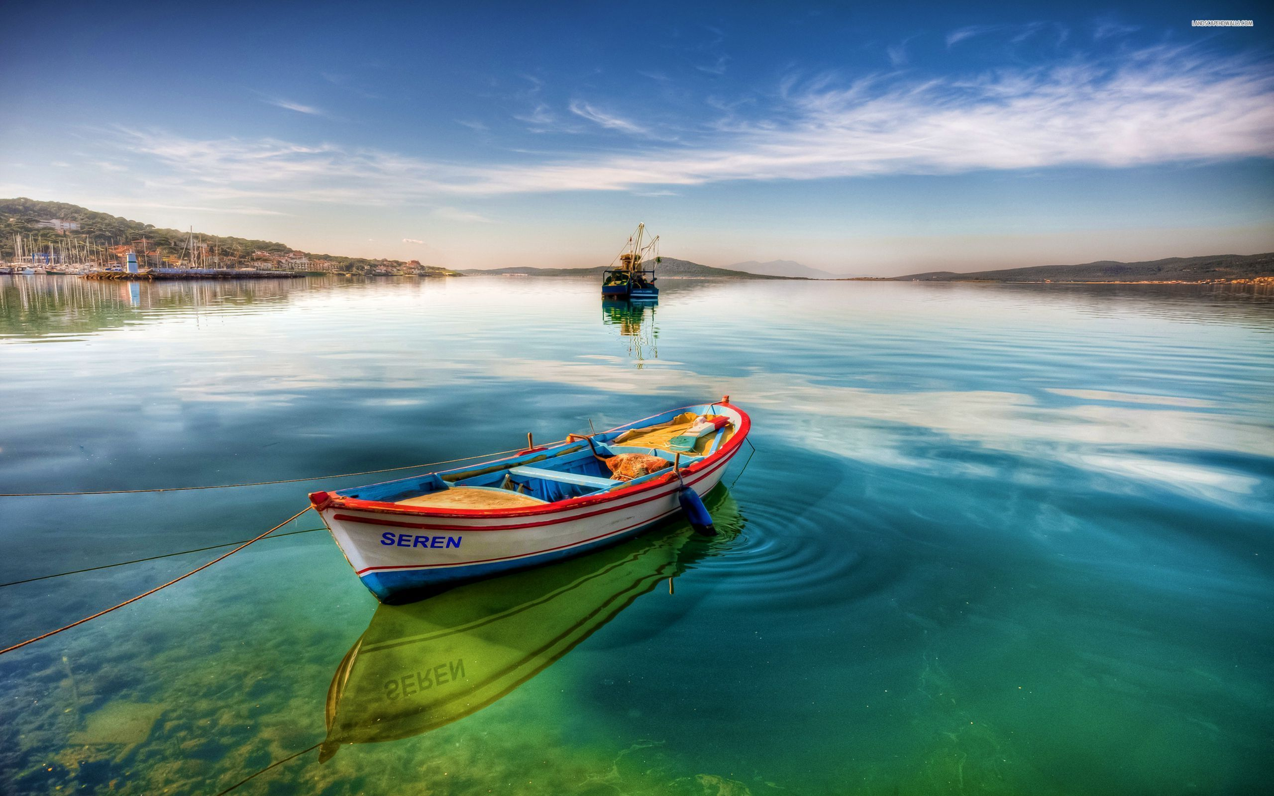 Boat on Clear Water HD Wallpapers WallpapersCharlie Лодка