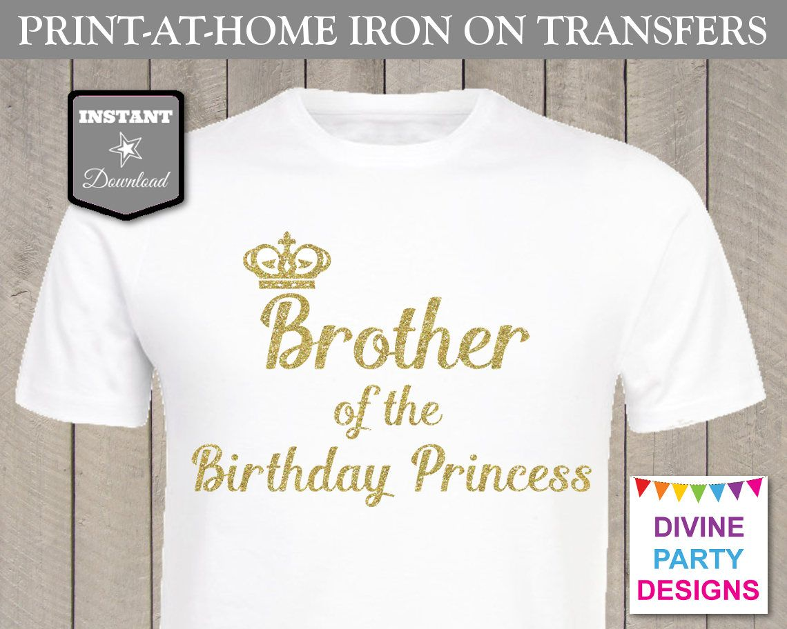 INSTANT DOWNLOAD Print at Home Gold Glitter Brother of the Birthday ...