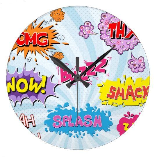 Comic Style Girly Super Hero Design Large Clock