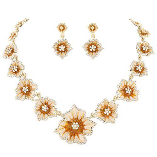 EVER FAITH® Hibiscus Teardrop Austrian Crystal Necklace Earrings Set NxSi7c