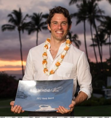 James Marsden and his Nova Award, given to him at the Maui Film Festival, 2012