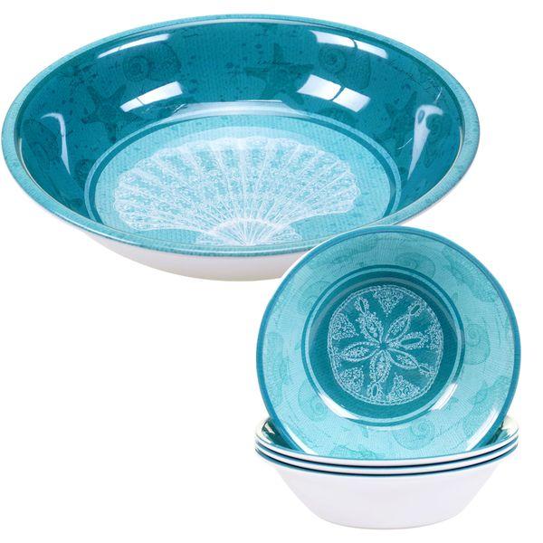 Certified International Aqua Treasures 5-piece Melamine Salad/Serving Set