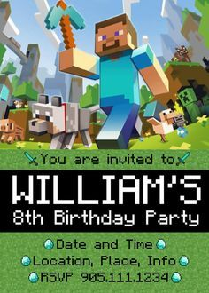 Party Minecraft Birthday Party Invitations As An Alternative For