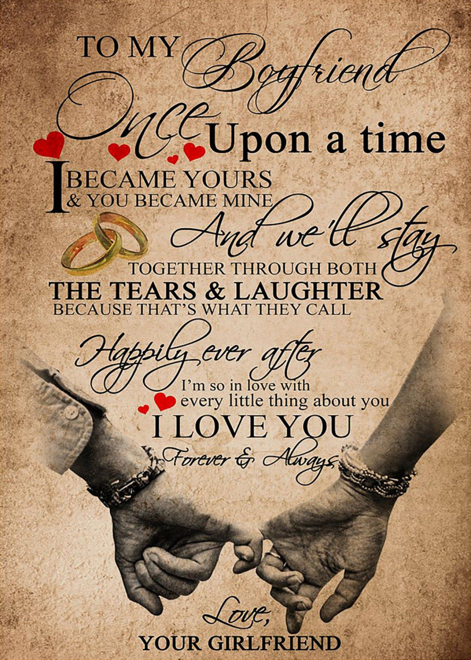 To My Boy Friend Once Upon A Time I Became Your And You Became Mine And We Ll Say Poster Home Decor Wall Art