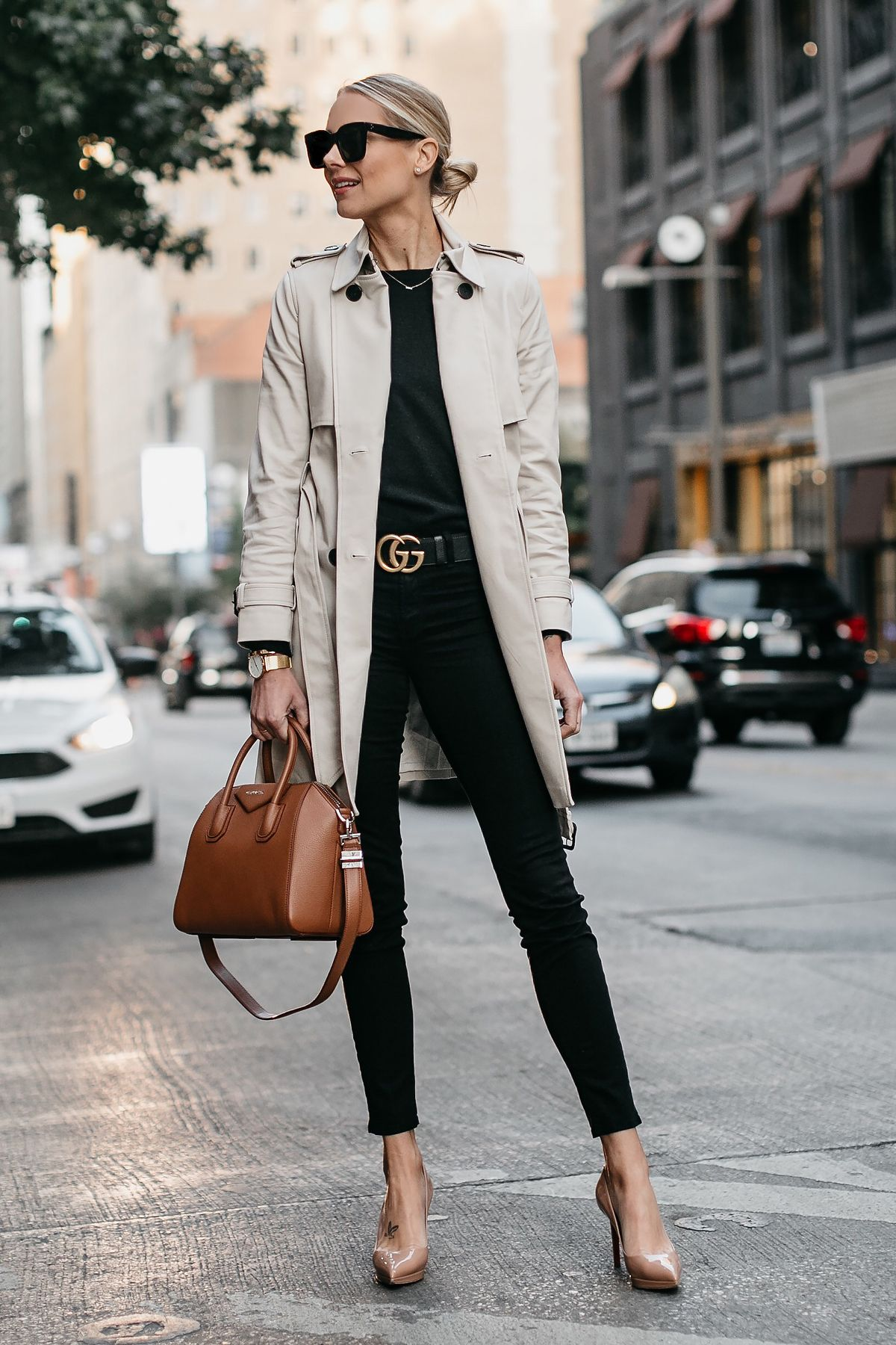 972103bd76 Blonde Woman Wearing Club Monaco Trench Coat Black Sweater Black Skinny  Jeans Gucci Marmont Belt Nude Pumps Givenchy Antigona Cognac Satchel  Fashion Jackson ...