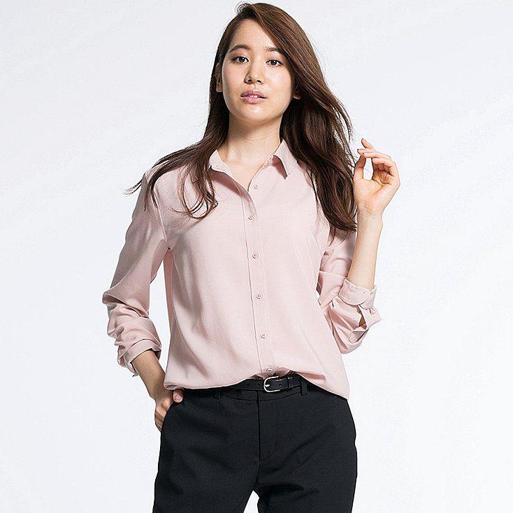 b80d31e5c6b44 Uniqlo Rayon Long Sleeve Blouse—miss having a pink blouse