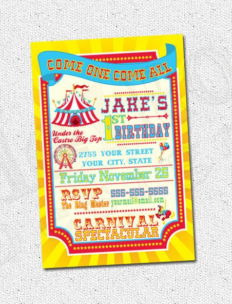 Circus, Carnival Theme Party Invitations PRINTABLE, D.I.Y.  - by Metro Events/Metro-Designs. $6.98, via Etsy.