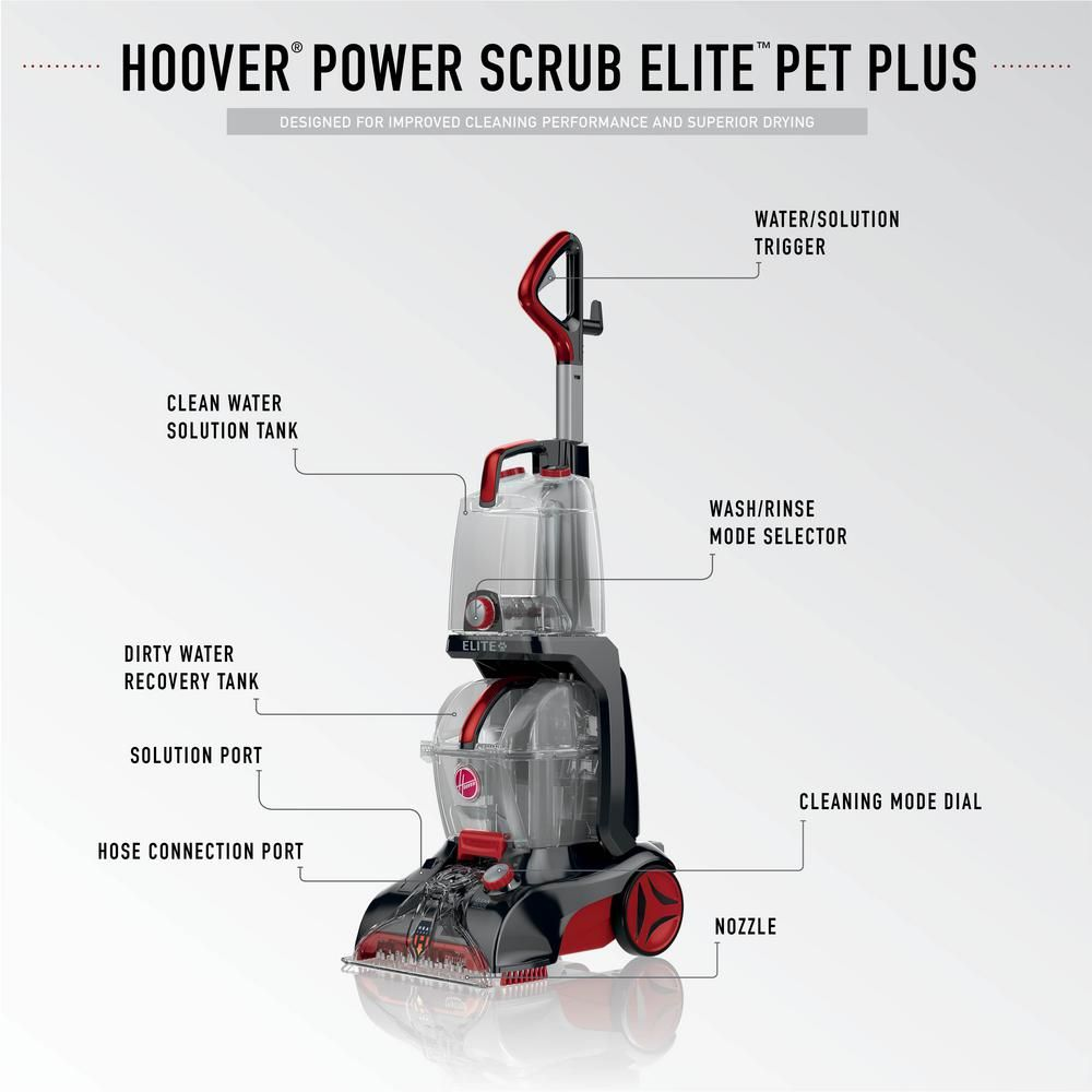 Hoover Professional Series Power Scrub Elite Pet Plus Upright Pet Carpet Cleaner Fh50258 The Home Depot Carpet Cleaners Carpet Cleaner Vacuum Pet Carpet Cleaners