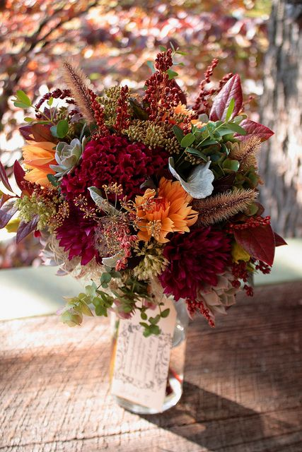I like all the different textures Fall seasonal bouquet
