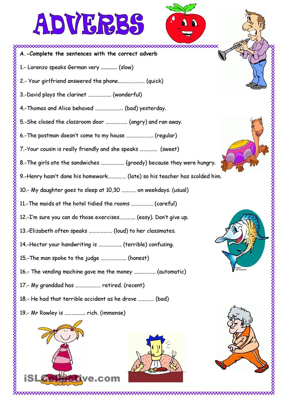Worksheets Adverbs
