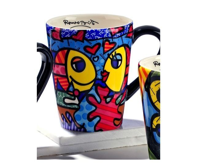 ROMERO BRITTO DEEPLY IN LOVE MUG – BLACK ARM *** NEW ** in Home, Furniture & DIY, Cookware, Dining & Bar, Tableware, Serving & Linen | eBay