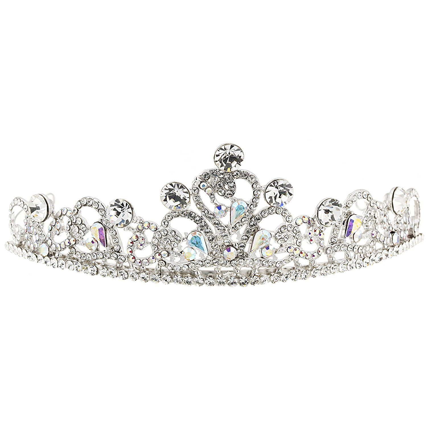 95f5960f7aac Gemini London Jewellery s Swarovski Crystal Heart Swirl Tiara with AB and  Clear White Swarovski Crystals