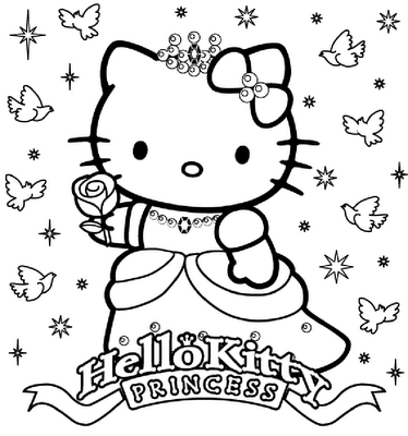 Kleurplaten Hello Kitty Princess.Hello Kitty Happy Birthday Princess Coloring Sheet Hello Kitty