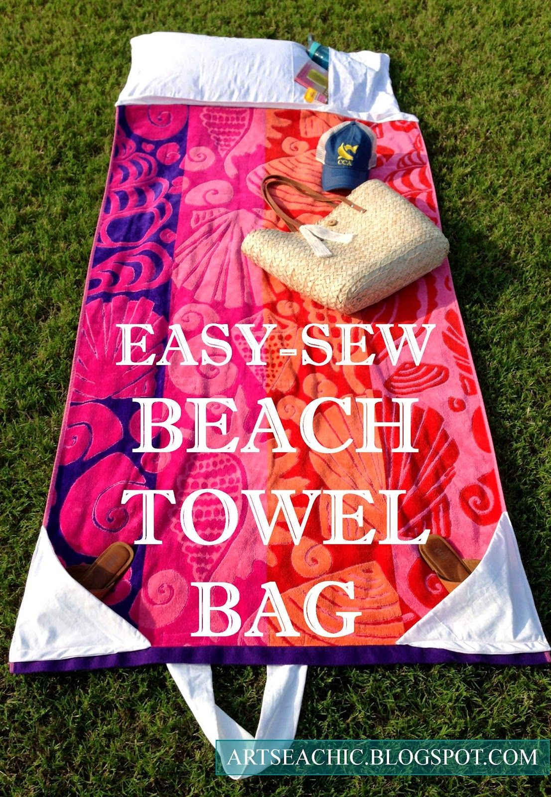 BLOGGED}: Easy-Sew Beach Towel Bag | ARTSEA CHIC Blog | Pinterest ...