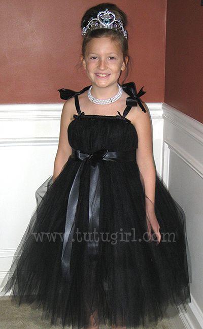 Black Flower Girl Tutu Dress, Breakfast at Tiffany's Tutu Dress