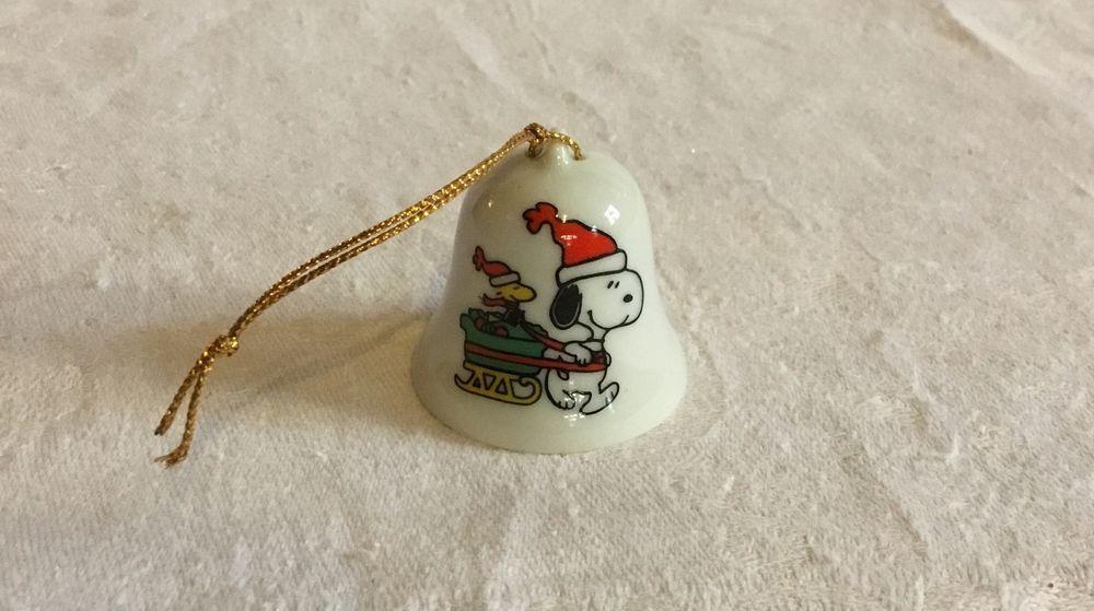 Vintage Snoopy Porcelain Christmas Bell Ornament Decoration Japan ...