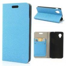 Custodia Nexus 5 Flip Stand Wallet Madera Azzurro Transparente  € 12,99