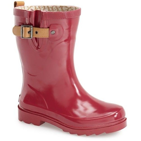 "Chooka 'Top Solid Mid Height' Rain Boot, 1"" heel (86 CAD) ❤ liked on Polyvore featuring shoes, boots, ankle booties, ankle boots, garnet, rain boots, rubber boots, low heel boots and chooka boots"