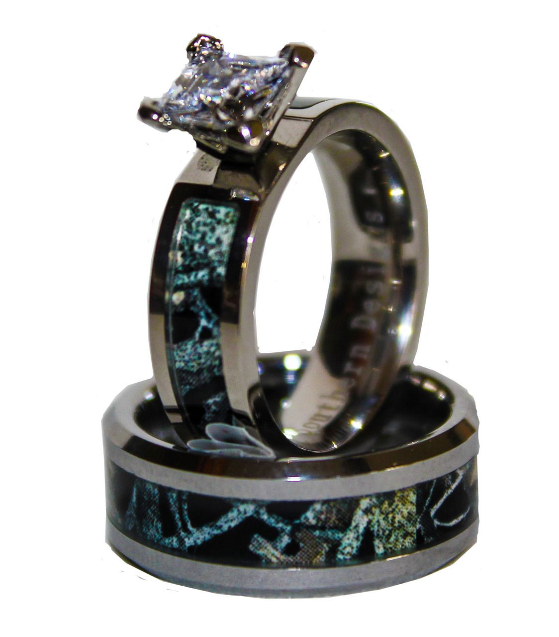 Black Camo On Silver Band Couples Ring Set With Stone Camo