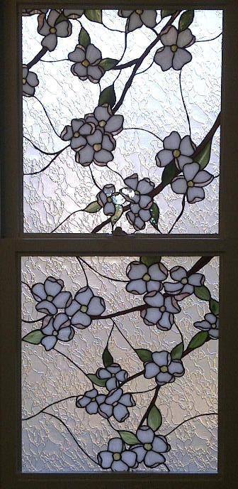 W 17 Stained Glass Window Insert Whispering Dogwood
