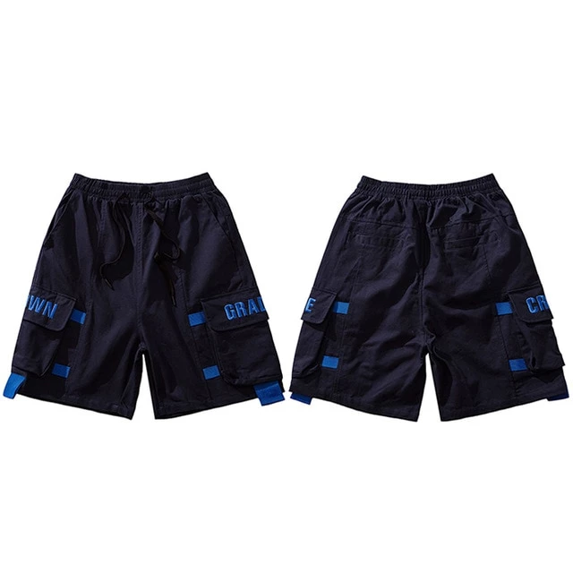 Hip Hop Cargo Short Streetwear Embroidery Pockets Harajuku Mens Military Tatical Cotton 11