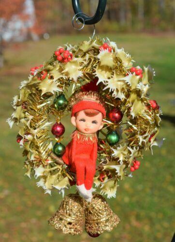 Flocked Vintage Elf Christmas Ornament Pixie Plastic Japan