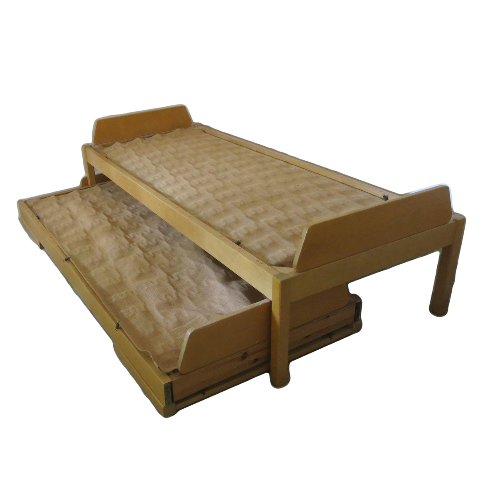 blond birch twin bed with folding trundle designed in the 1950s for