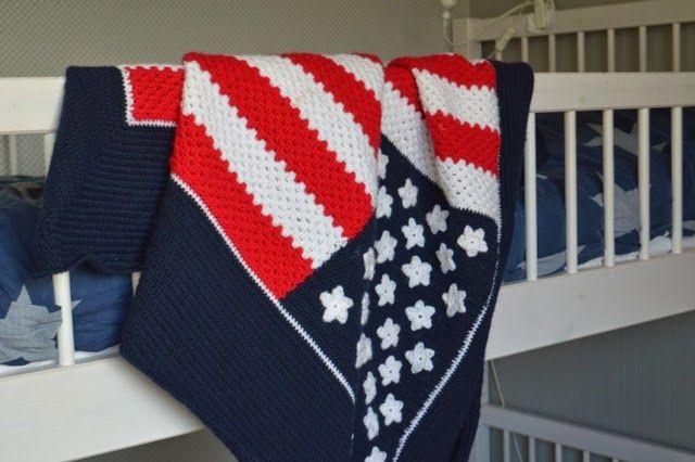 Deken Amerikaanse Vlag.Made By Rooz Amerikaanse Vlag Deken Haken Babydeken