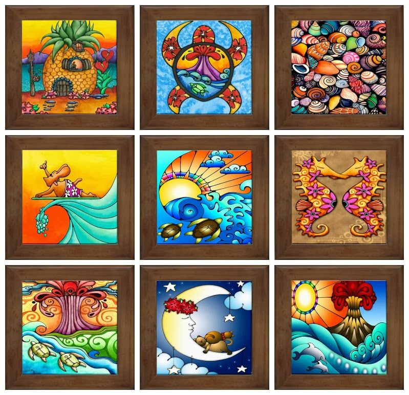 Hawaii Framed Ceramic Tiles By Holly Kitaura Holly K Hawaii Aloha