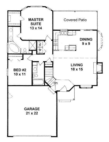1103 Sqaure Feet 2 Bedrooms 2 Bathrooms 2 Garage Spaces 40 Width 56 Depth Floor Plan 20099 2 J Retirement House Plans Traditional House Plans Small House Plans