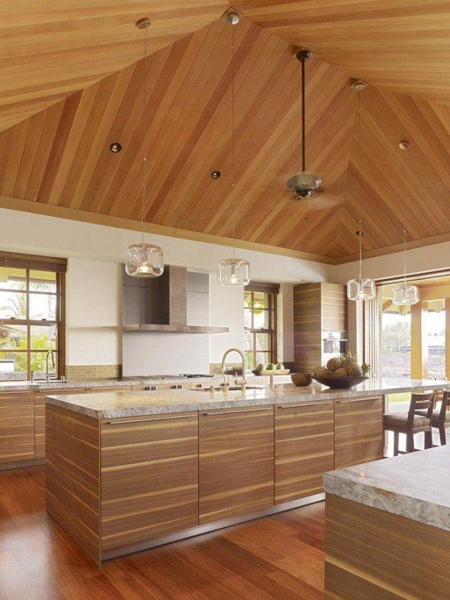 wohnideen f r die moderne k che holzdecke granit. Black Bedroom Furniture Sets. Home Design Ideas