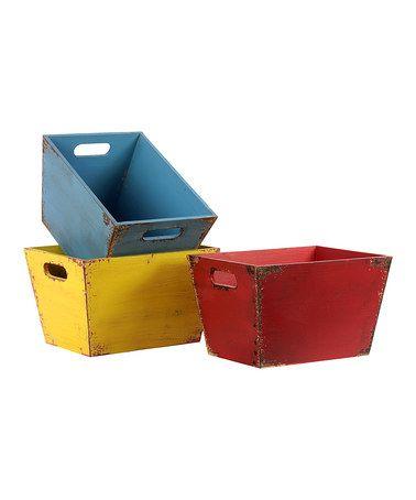 Look at this #zulilyfind! Distressed Wooden Storage Bin Set #zulilyfinds