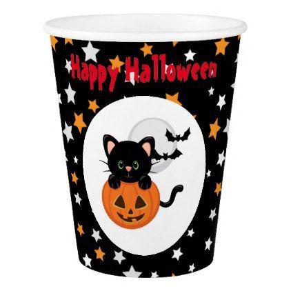 Halloween Black Cat and Pumpkin Paper Cup Halloween black cat - halloween decorations black cat