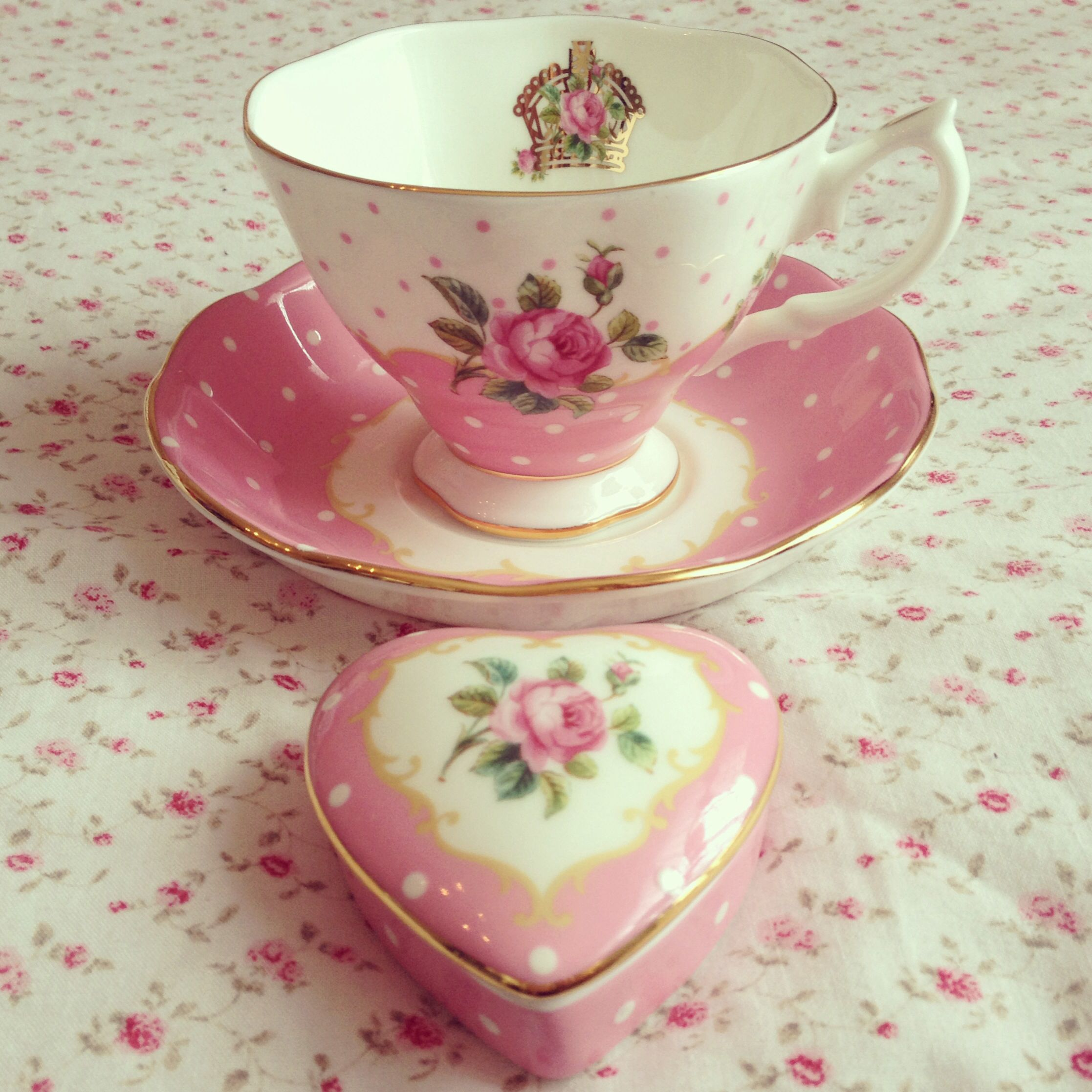 Royal Albert cheeky pink teacup saucer and trinket box.