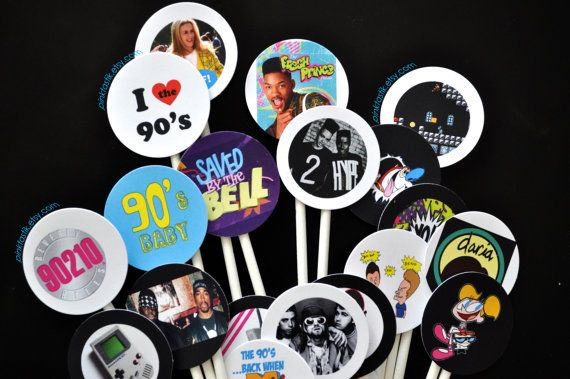 20 totally awesome 90s cupcake toppers 90s theme party for 90s decoration ideas