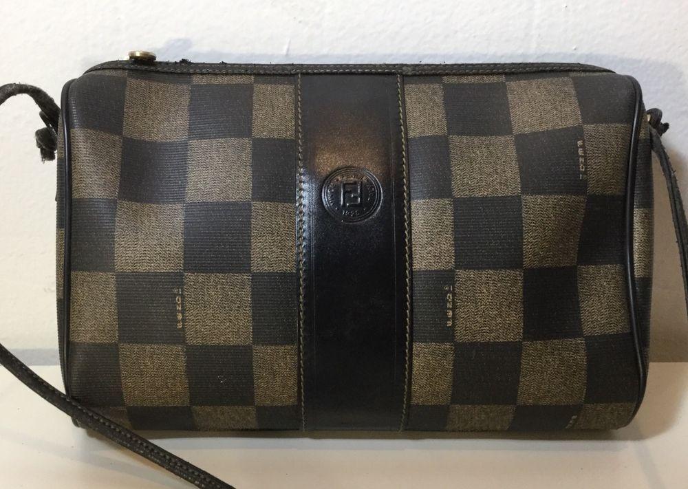 7c6224646e Authentic VTG Fendi Shoulder Bag Pecan Checkerboard Monogram Black Leather  GUC | eBay