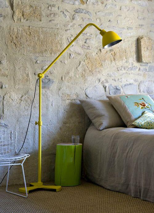 Yellow metal floor lamp