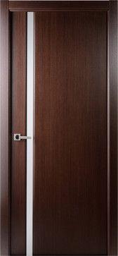 Contemporary Wenge Veneer Interior Single Door, Frosted Glass Strip    Contemporary   Interior Doors   Tampa   US Door U0026 More Inc