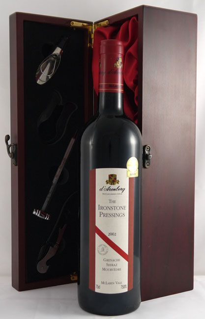 2002 d'Arenberg The Ironstone Pressings    McLaren Vale #vintage #wine   Full-bodied, powerful, opulent blend boasts loads of fruit, wonderfully sweet glycerin, and a long finish with outstanding purity, definition, and structure.