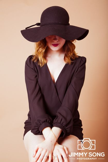 Indoor Studio Test Shoot Hat Mysterious Mocha Backdrop Arizona University Classy Vintage