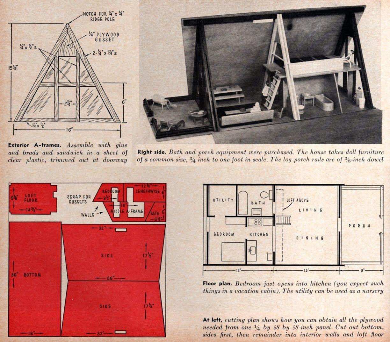 Plan For An A Frame Playhouse Doll House Doll House Plans Vintage Dollhouse
