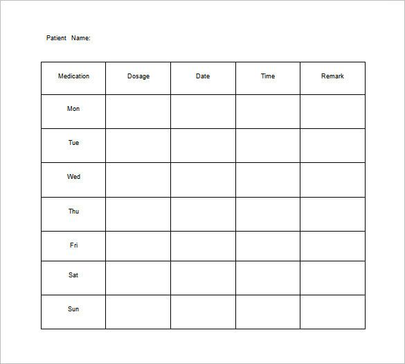 Medication Chart Template   Free Sample Example Format